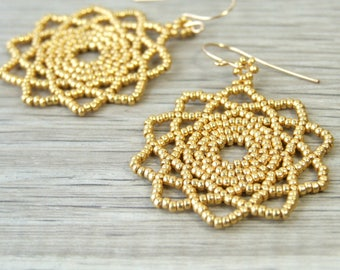 Gold Mandala Jewelry Gold Boho Earrings Glass Bohemian Earrings Beaded Mandala Earrings Unique Earrings Goldfilled Zen Earrings Boho Gift
