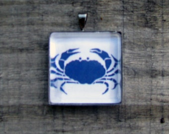 LUCKY BLUE CRAB Necklace White Jewelry Gift Printed on Recycled Paper Under Glass Shield