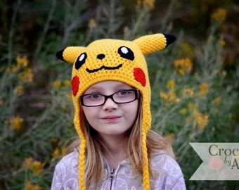 Pikachu hat, Pokemon, Crochet By Allie