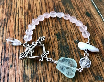 Sterling Silver and Multi Pastel Gemstone and Stick Pearl Bracelet