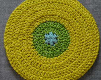 Hand crocheted of cotton and silk, yellow and green beret
