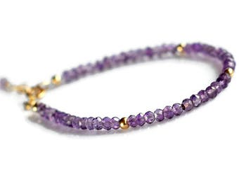 Gold amethyst bracelet, purple bracelet, amethyst jewelry, gemstone stacking bracelet, gift for her