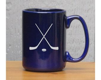 Hockey Coffee Mug / Personalized Coffee Mug / Free Personalization / Ceramic  Sports 15 oz Coffee Mug / Coffee, Tea, or Hot Chocolate Mug