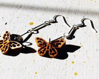 Butterfly earrings wood finish - Pendants