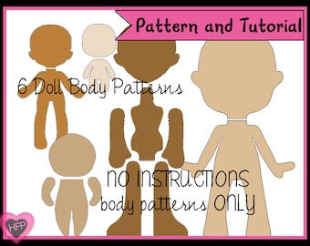 Doll Body Pattern, PDF Doll Pattern, Felt Doll Pattern