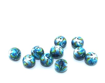 Round ball beads, Polymer clay beads, round abstract beads in blue and turquoise, millefiori beads, set of 10 artisan beads