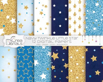 Navy blue and gold glitter twinkle little star 12 digital papers - INSTANT DOWNLOAD