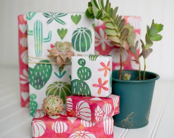 Cactus Watercolor Reversible Wrapping Paper // Sweet Succulents //Eco-friendly Gift Wrap (6-sheets)