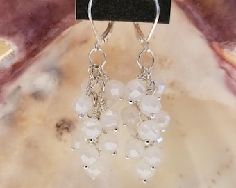 Frosted White Cluster Earrings
