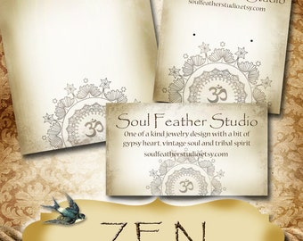 ZEN•Custom Earring Cards•Labels•Earring Display•Clothing Tags•Custom Hang Tags•Boutique Card•Tags•Custom Tags•Custom Labels