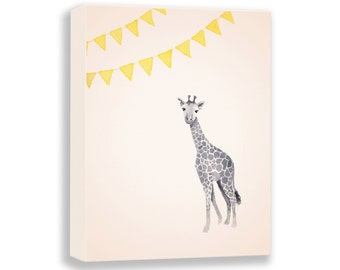 Giraffe Canvas - Nursery Art - Yellow and Gray - Watercolor PRINT - Gallery Wrap - Baby Nursery - Art for Children - Kids - G117