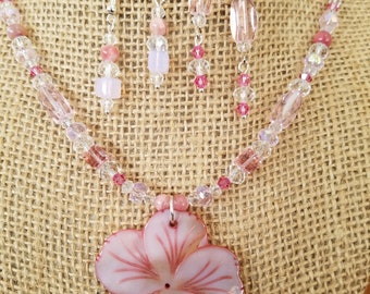 Mother of Pearl Necklace, Swarovski crystals, Quartz Crystals, Necklace and Earring Set