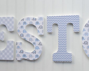 Wall Letters, Nursery  Wall Decor, Wooden Letters, Blue and Gray, Elephant, Nursery Art, Hanging letters