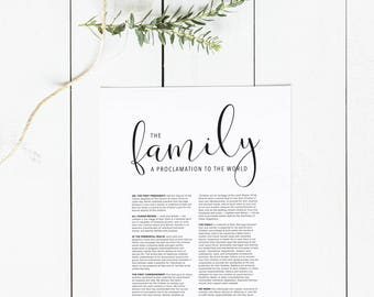 The Family: A Proclamation to the World Digital Download | Family Proclamation Large Printable | LDS Family Proclamation Print