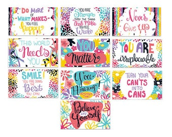Mini Encouragement Cards Set of 10, Positive Affirmation Cards, Inspirational Quotes