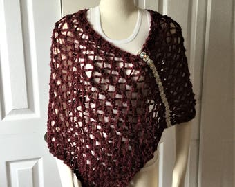 Valentines day gift ideas, hand knit cape, poncho, wrap.women accessories, gift under 15, hand made gift, size S/M
