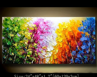 contemporary wall art,Palette Knife Painting,colorful Landscape painting,wall decor,Home Decor,Acrylic Textured Painting ON Canvas Chen