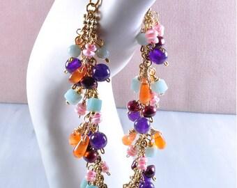 Gemstone Bead Bracelet   Carnelian Bracelet   Amethyst Bracelet   Gemstone Bead Jewelry