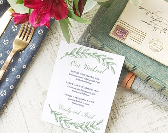 Wedding Agenda Card, Printable Wedding Timeline Letter, Events Card, Woodland, Itinerary, Agenda, Hotel Card - INSTANT DOWNLOAD