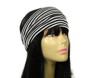 "Black and White Earwarmer Striped Knit Head Wrap Acrylic Knit Ear Warmer Black and White Headband Ear Warmer ""No Itch"" Wide Ear Warmer"