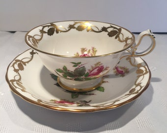 Royal Chelsea  Flowers & Gold trim Tea Cup and Saucer #390A