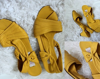 Vintage Sheila Shoes // 1970's Buttercup Yellow Italian Made Leather Slingback High Heels Peep Toe Soft Sandals by Ramirez Pumps Size 5/37