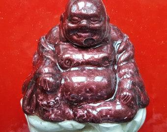 Resting Buddhas on red, cherry, white, home decor, Buddha, plaster casts, 30x15 cm (12x6 inch)