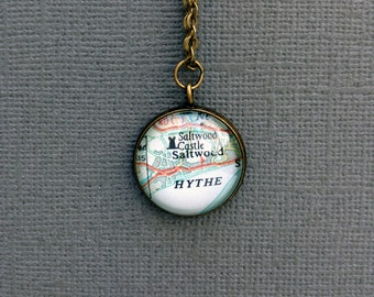 Personalized Pendant, Bronze Anniversary Gift, Custom Pendant, Silver Pendant, Wife Gift Idea, Bridesmaids Gift, Vintage Map Gift,