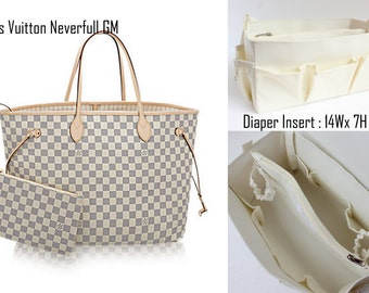 Diaper Bag organizer insert -Extra Large Purse organizer for Louis Vuitton Neverfull GM in Cream