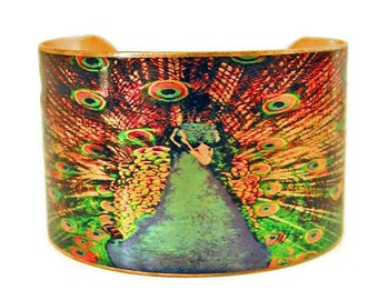 PEACOCK in full plume cuff bracelet brass Gifts for her