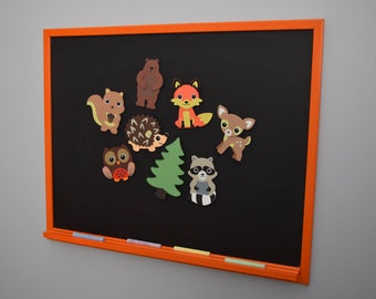 Magnetic Chalkboard WITH Forest Animal Magnets