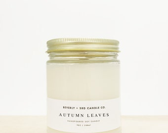 AUTUMN LEAVES Candle, Autumn Candle, Fall Candle, Soy Candle, Wood Wick Candles, Clove Scent, Glass Jar Candle | Wholesale, Bulk Order