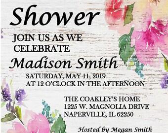 Bridal Shower Invitation - Rustic Flowers PDF
