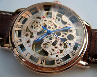 Rose Gold Mechanical Wrist Watch with Brown Leather Wristband - Men's Watch - Steampunk - Engraved Watch - Unisex Watch - Item MWA130