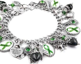 Mental Health Awareness Bracelet, Mental Health Jewelry, Green Awareness Ribbon, Mental Health Bracelet, Mental Illness Bracelet