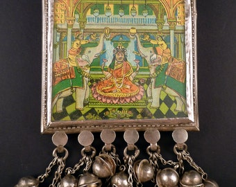 Big and heavy old Himachal Pradesh pendant, called Sabeeh pendant, indian silver amulet pendant, tribal ethnic jewellery
