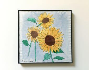 79/100: Sunflowers - original framed watercolor illustration