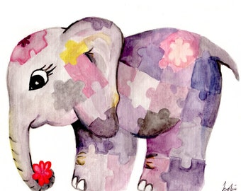 Watercolour Painting Elephant Puzzle Print Nursery Wall Décor