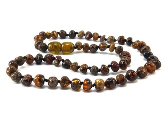 Baltic Amber Necklace Teething Baby Toddler Child Polished Rounded Dark Beads