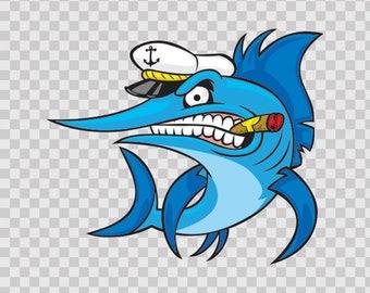 Sticker Decals Captain Marlin Atv Weatherproof Hobbies Fishing Fisherman 05903