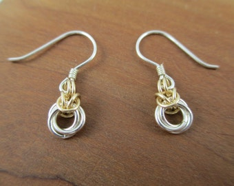 Fine Silver and 14k Gold Fill Tiny Dangle Mobius Chainmaille Earrings, Chain Earrings, Chainmail Jewelry
