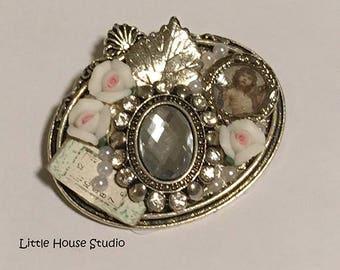 Rhinestone Porcelain Rose Brooch, Vintage Rhinestone Brooch, Repurposed  Brooch, Brooch, Pin, Assemblage Brooch, Antique Flower Brooch