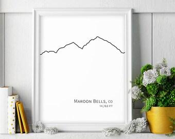 Maroon Bells Mountain Wall Art Colorado Gift Hiking Decor Minimalist Art Black White Large Printable Poster Digital Print Instant Download