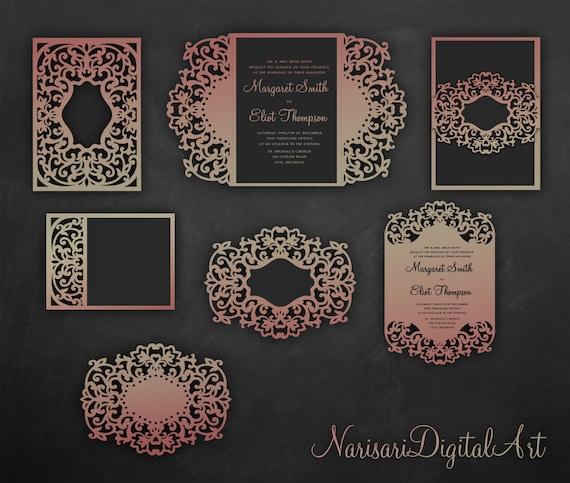Laser Cut Wedding Invitations Set Flourish Cricut Templates