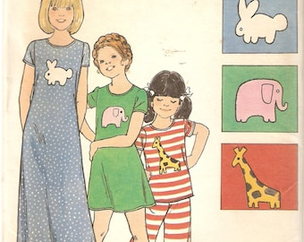 REDUCED PRICE!  VINTAGE Butterick Sewing Pattern 3956 - Children's Clothes - Pajamas Size 4 & 8