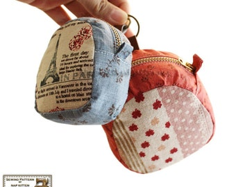 Zippered key pouches sewing pattern (two sizes)  --- PDF