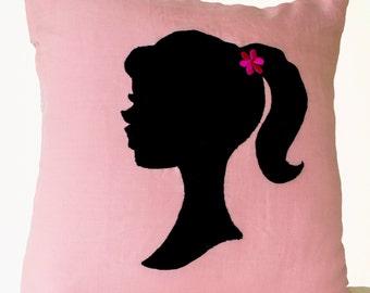 Pink Pillows, Girl Pillow, Light Pink Throw Pillows,Small Pillow, Applique Pillow, 14*14,Pink Black Pillow, Cute Throw Pillows, Pink Decor