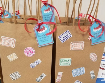 Luggage Suitcase themed Goodie Bags Loot Bags Party Bags Favor Bags Treat Bags Choose any Color Bags Travel Party Airplane Party 10 pack