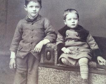 Antique Photo of Two Little Boys Antique Cabinet Card Photograph 6-1/2 x 4-1/4 Circa 1880s Buffalo NY