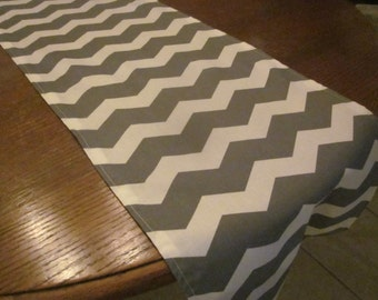 Gray Chevron Table Runner, Wedding, Bridal Shower, Baby Shower, Graduation, Birthday